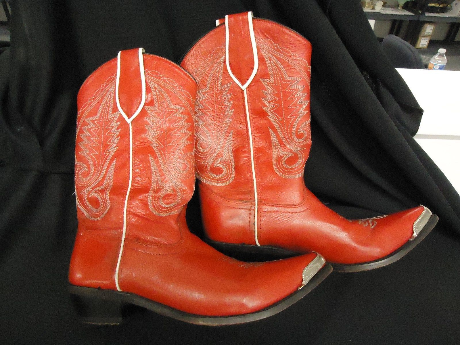 Bad Shoes Records Red Mens Cowboy Boots Horseshoe Taps