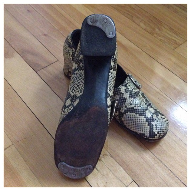 womens snakeskin chunk-heeled shoes with LARGE metal HEEL and TOE taps